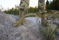 Bottes militaires pour les hommes Sont employ?s pour les forces militaires et sp?ciales d'?quipement details photographie stock libre de droits