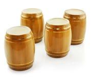 Botti dell'oro dalla cantina per vini isolata Fotografia Stock