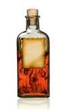 Bottiglia antiquata della droga con l'etichetta. Fotografie Stock