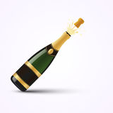 Bottiglia aperta realistica del champagne con la stagnola e la spruzzata di oro Immagine Stock