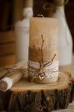 Bottiglia & candela Fotografia Stock Libera da Diritti