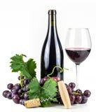 Bottiglia, cavaturaccioli, bicchiere di vino ed uva del vino rosso Fotografie Stock