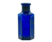 Bottiglia chimica blu antiquata Immagine Stock