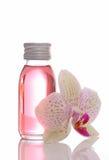 Bottiglia con gli oli essenziali Fotografia Stock