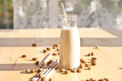 Bottiglia con il latte della mandorla fotografia stock