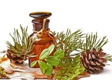 Bottiglia con l'olio di massaggio immagini stock libere da diritti