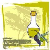 Bottiglia con olio d'oliva fresco Immagine Stock Libera da Diritti