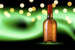 Bottiglia con rugiada sul fondo polare di incandescenza illustrazione di stock