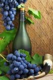 Bottiglia, corno bevente e mazzo di uva immagine stock