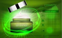 Bottiglia cosmetica di vera dell'aloe per cura del corpo o del profumo Fotografia Stock Libera da Diritti
