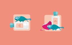 Bottiglia creativa delle icone di profumo illustrazione vettoriale
