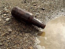 Bottiglia da birra sulla terra Immagini Stock