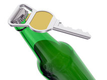 Bottiglia da birra verde con l'apri Immagini Stock