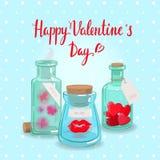 Bottiglia dei biglietti di S. Valentino Fotografia Stock Libera da Diritti