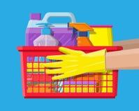 Bottiglia dei guanti detergenti del sapone e della gomma della spugna illustrazione vettoriale