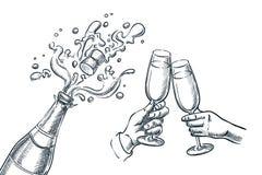 Bottiglia del champagne di esplosione e due mani con i bicchieri Illustrazione di vettore di schizzo Giorno del nuovo anno, di Na illustrazione di stock