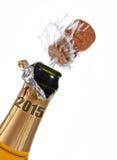 Bottiglia 2015 del champagne di notte di San Silvestro Fotografia Stock Libera da Diritti