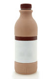 Bottiglia del latte al cioccolato isolata su bianco Immagine Stock Libera da Diritti