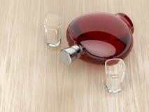 Bottiglia del liquore e due vetri Immagine Stock Libera da Diritti
