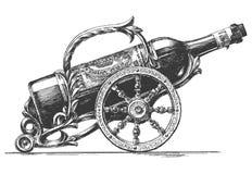 Bottiglia del modello di progettazione di logo di vettore del vino illustrazione di stock