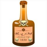 Bottiglia del rum del pirata Immagini Stock Libere da Diritti