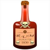 Bottiglia del rum del pirata Immagini Stock