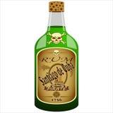 Bottiglia del rum del pirata Fotografia Stock