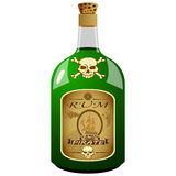 Bottiglia del rum del pirata Fotografia Stock Libera da Diritti