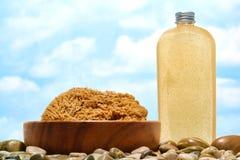 Bottiglia del sapone liquido e della spugna naturale Fotografia Stock Libera da Diritti