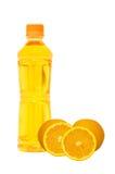 Bottiglia del succo di arancia Fotografia Stock