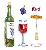 Bottiglia del vino rosso, bicchiere di vino, uva, cavaturaccioli, sughero e macchia, insieme isolato royalty illustrazione gratis