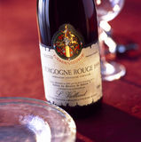 Bottiglia del vino rosso del Bourgogne Fotografia Stock