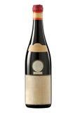 Bottiglia del vino rosso dell'annata con il contrassegno in bianco. Fotografia Stock