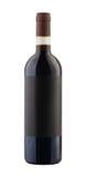 Bottiglia del vino rosso isolata con il contrassegno in bianco Fotografia Stock Libera da Diritti