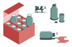 Bottiglia dell'immagine di vettore del latte Fotografie Stock Libere da Diritti