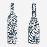 Bottiglia dell'iscrizione della mano di vino Immagine Stock Libera da Diritti