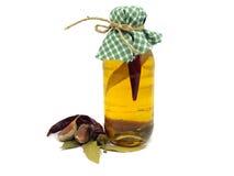 Bottiglia dell'olio dei peperoncini rossi Fotografie Stock Libere da Diritti