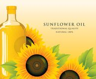 Bottiglia dell'olio di girasole con i girasoli e le foglie Royalty Illustrazione gratis