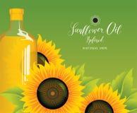 Bottiglia dell'olio di girasole con i girasoli e le foglie Illustrazione Vettoriale