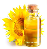 Bottiglia dell'olio di girasole con il fiore. Fotografia Stock