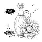 Bottiglia dell'olio di girasole con il fiore e mucchio del seme Illustrazione disegnata a mano di vettore Brocca di vetro Fotografia Stock