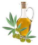 Bottiglia dell'olio di oliva con le olive Immagine Stock Libera da Diritti