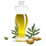 Bottiglia dell'olio di oliva con le olive ed i fogli verde oliva Fotografie Stock