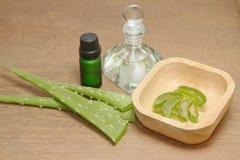 Bottiglia dell'olio essenziale di vera dell'aloe con la pianta fresca Immagine Stock Libera da Diritti