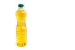 Bottiglia dell'olio vegetale su fondo bianco isolato Immagini Stock Libere da Diritti
