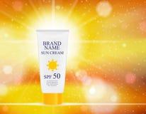 Bottiglia della crema di cura di Sun, modello della metropolitana per gli annunci o fondo della rivista 3D vettore realistico Iil royalty illustrazione gratis