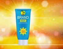 Bottiglia della crema di cura di Sun, modello della metropolitana per gli annunci o fondo della rivista vettore realistico 3D Immagine Stock