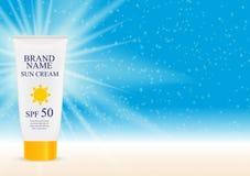 Bottiglia della crema di cura di Sun, modello della metropolitana per gli annunci o rivista Fotografia Stock