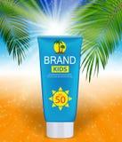 Bottiglia della crema di cura di Sun, modello della metropolitana per gli annunci o rivista Immagine Stock