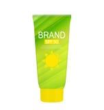 Bottiglia della crema di cura di Sun, modello della metropolitana per gli annunci o rivista Backgro Fotografia Stock